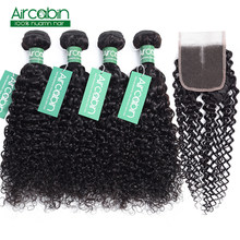 Aircabin Kinky Curly Bundles with Closure Brazilian Hair Weave 4 Bundle with Lace Closure Non Remy Hair Extensions Free Shipping(China)