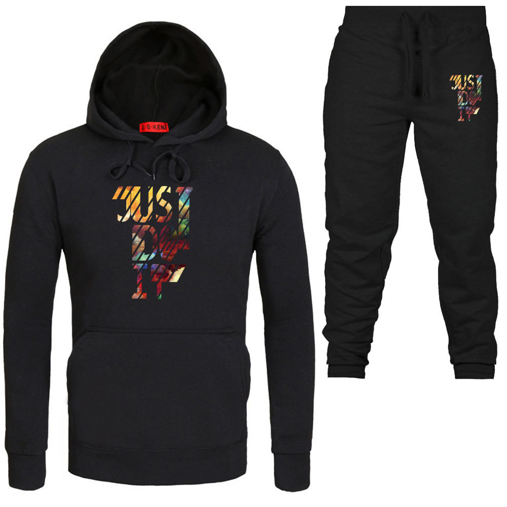 Fashion Brand Men And Women Hoodie Spring And Autumn Fashion Set Plus Velvet Printed Coat Hoodie Sports Set