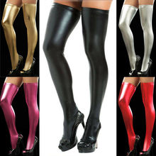 2019 Fashion Brand New Hot Women Wet Look PU Leather Hold-Ups Thigh High Stockings Sexy Stay-Up Stocks
