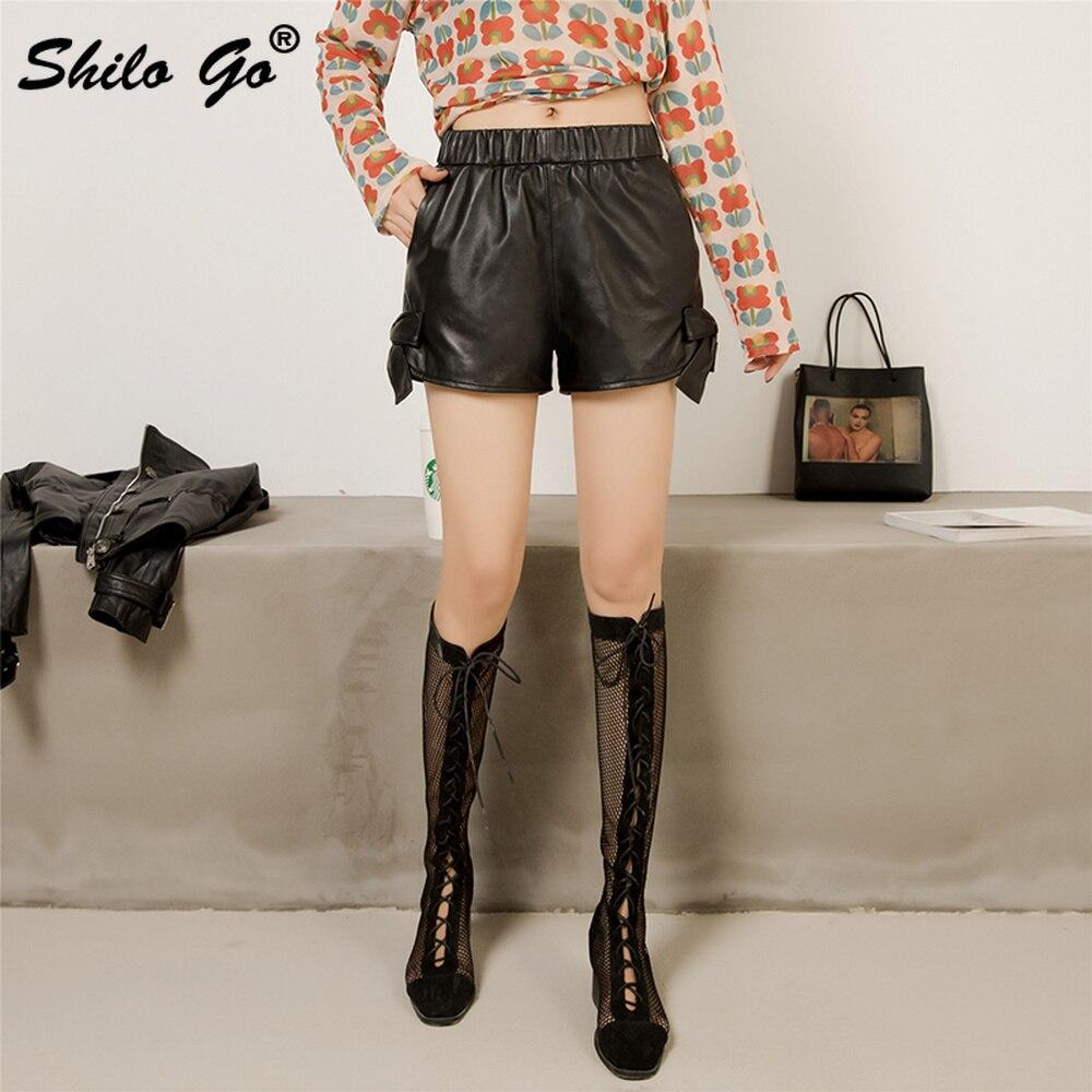 Шорты из натуральной кожи, черные, со шнуровкой сбоку, эластичная талия, широкие шорты, женские осенние повседневные, высокие, воланы, минималистичные ботинки, шорты - 3