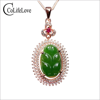 CoLife Jewelry Chinese Style Jade Leaf Pendant for Daily Wear 10mm*14mm Natural Jade Silver Pendant 925 Silver Jade Jewelry