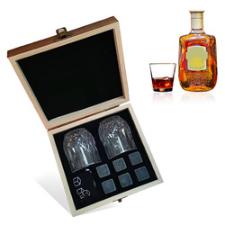 6pcs Whiskey Stones Set Chilling Stones 2 Glasses Wooden Box Reusable Ice Cubes for Whiskey Beer Juice Drinks Bar Accessories