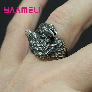 Men Two Entwined Ravens Rings Norse Mythology Tibetan Silver Crow Rings Nordic Amulet Jewelry Halloween Decoration image