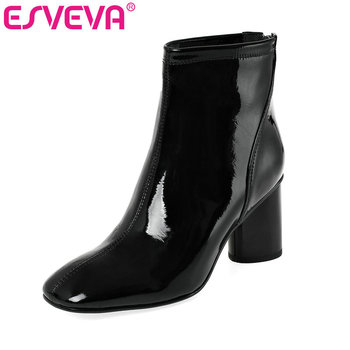 ESVEVA 2020 Women Shoes Winter Ankle Boots Pointed Toe Patent Leather+PU Zipper High Heel Motorcycle Platform Boot Size 34-39