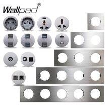 Wallpad-Interruptor de pared L6 plateado aluminio cepillado, enchufe europeo francés, cargador USB CAT6 RJ45, módulos de Audio HDMI, Combinación libre para manualidades