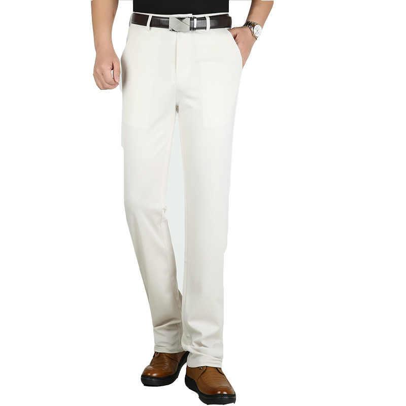 Yazlık pantolonlar erkekler yüksek bel Suit Chinos pantolon erkek ince demir çalışma ofisi elbise resmi iş sosyal erkek streç pantolon