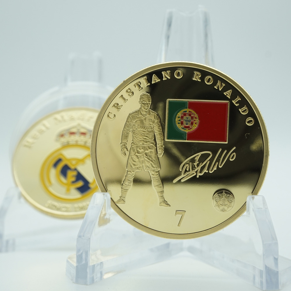 Gold Plated Sports Coin Collectible Gift Football Soccer Player Ronaldo Art Collection Commemorative Coin