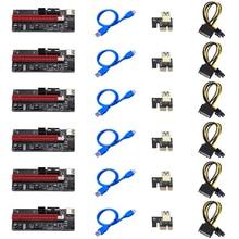 6pcs Newest VER009 USB 3.0 PCI E Riser VER 009S Express 1X 4x 8x 16x Extender Riser Adapter Card SATA 15pin to 6 pin Power Cable