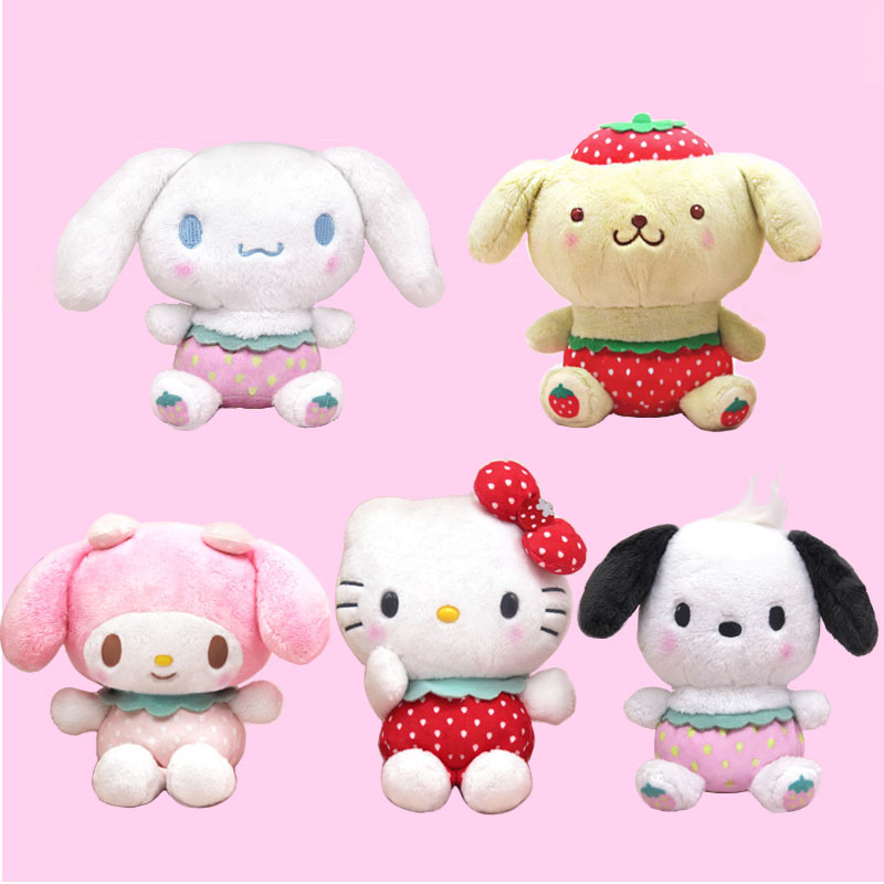 Japanese Web Celebrity Ins Sanrio Strawberry HelloKitty Cinnamoroll Plush Toys Melody Plush Pendant Pudding  PC Dog Hang Buckle