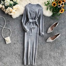 NiceMix Women Dress 2019 Autumn Knitted Long Sleeve O-neck Belt Waist Solid Strerch Elegant Female Dresses Vestidos