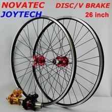 MTB זוג גלגלי 26 גלגלים עם Novatec רכזות ארבעה נושאות Joytech 041/042 32 חורים הרי אופני גלגל עבור 7 8  9 10 מהירות קלטת