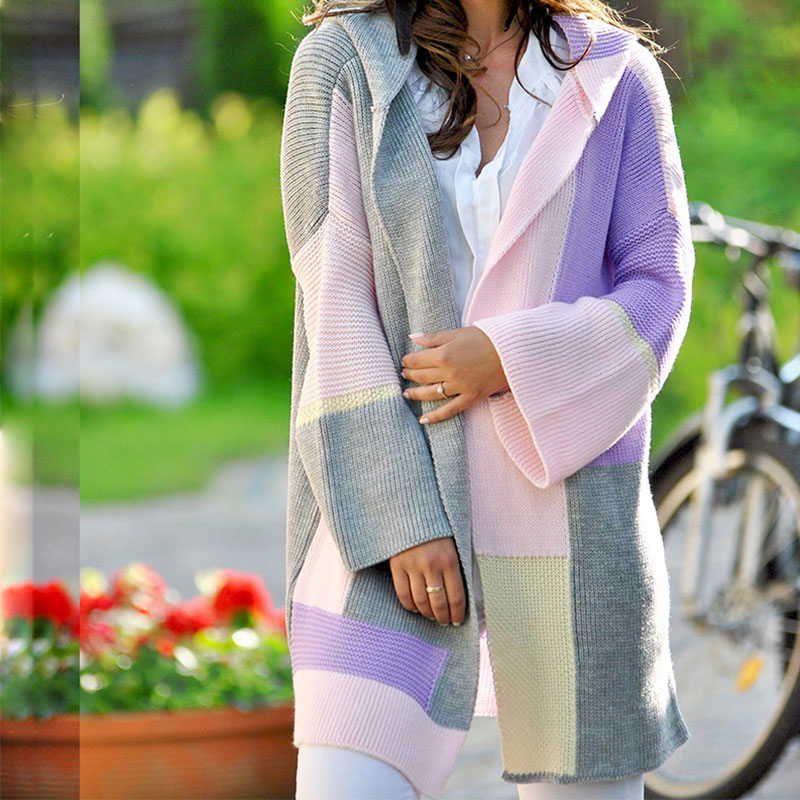 Women's Cardigan Multicolor Patchwork Sweater Plus Size 3XL Knitted Loose Long Sleeve Female Kardigan Spring Autumn Lady Coats