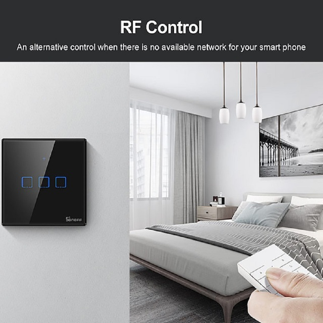 New SONOFF TX T3 EU UK US 1/2/3 Gang Smart Wall Touch Switch Wifi/433mhz RF/Voice/APP Remote Control Work With Google home Alexa 6