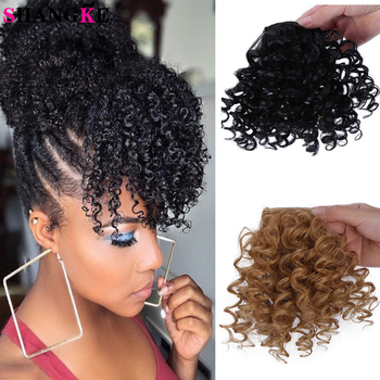 SHANGKE Natural Black Kinky Curly Bangs Hair Extensions For Women Synthetic Hair Clip In Hairpiece Fake Hair Brown Light Golden