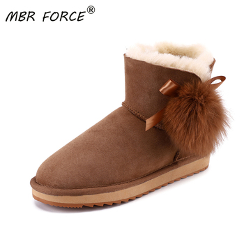 MBR FORCE Sheepskin Suede Leather Shearling Wool Fur Lined Women Short Winter Boots Pom-pom Style Ankle Snow Boots Shoes Girls mbr force classic knee high sheepskin suede leather wool fur shearling lined winter boots for women snow boots shoes size 34 44
