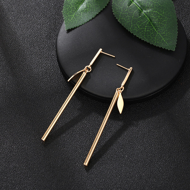 CARTER LISA 2019 Fashion jewelry Gold Silver Simple Exquisite Long Gold Bar Leaf Metal Stud Earrings.jpg 640x640 - CARTER LISA 2019 Fashion jewelry Gold/Silver Simple Exquisite Long Gold Bar Leaf Metal Stud Earrings Best For Women HLEZ218000