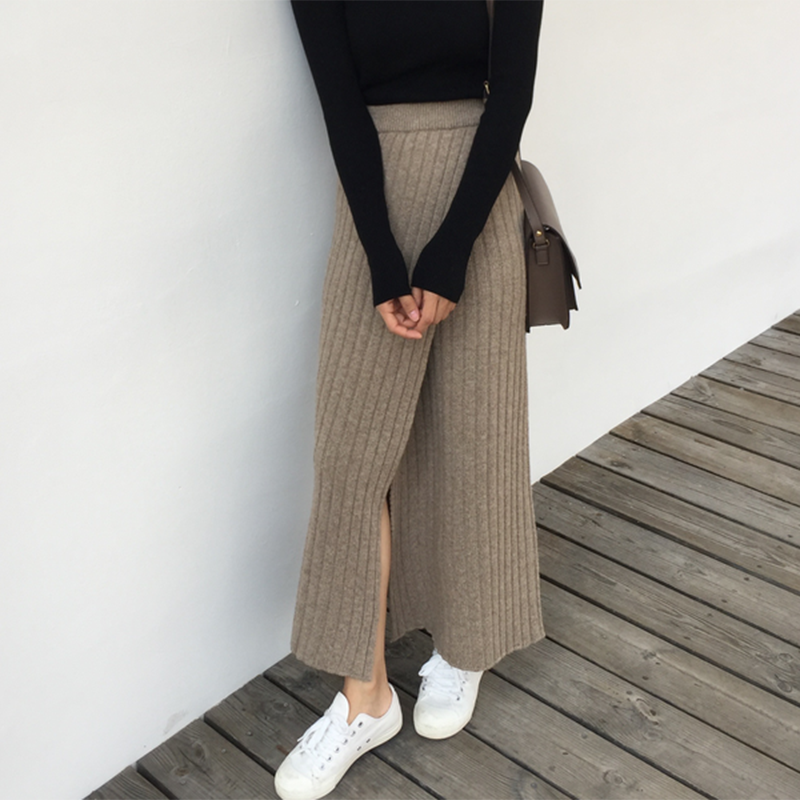 Long Pencil Skirt Women Autumn Winter Knitted Skirt High Elastic Waist Office Lady Open Split Casual Vintage Maxi Skirt V977 image