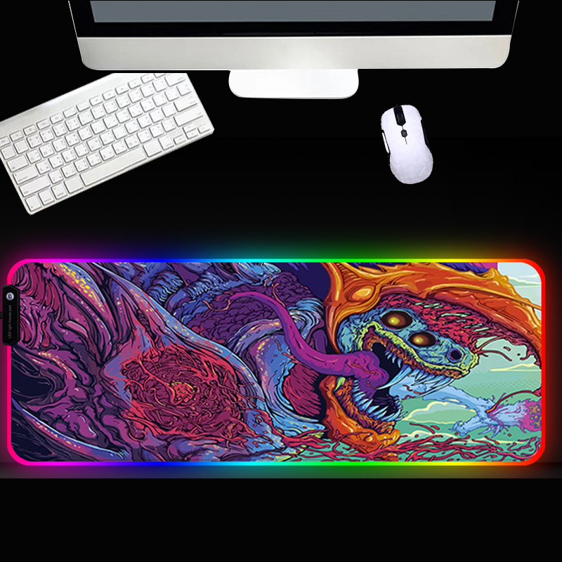 <font><b>RGB</b></font> Large <font><b>Mouse</b></font> <font><b>Pad</b></font> <font><b>Led</b></font> Backlight Anti-slip Natural Rubber Gaming MousePad Hyper Beast with Locking Edge Gamer Keyboard Mat image