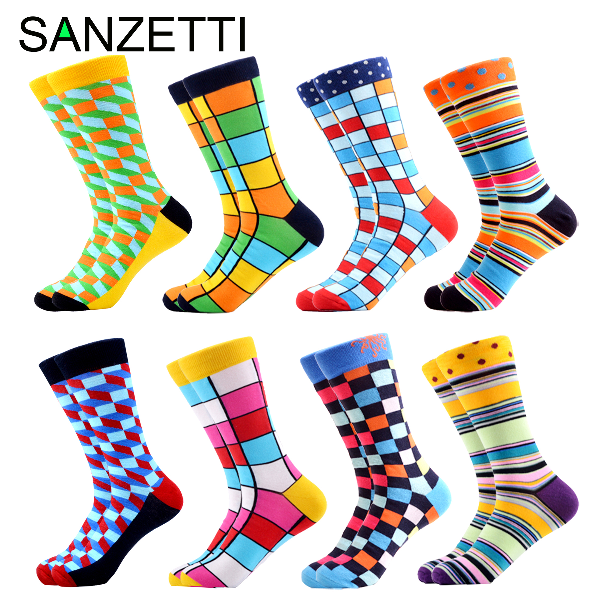 SANZETTI 8 Pair/Lot Men Colorful Harajuku Happy Combed Cotton Crew Socks Calcetines Hombre Breathable Bright Novelty Dress Socks