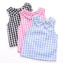 Летние блузки для девочек без рукавов топы хлопковые повседневные