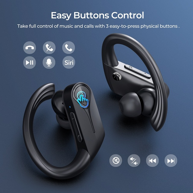 Mpow Flame Solo Wireless Sports Earbuds Bluetooth 5.0 TWS Earphones with IPX7 Waterproof ENC Noise Cancellation Mic&28H Playtime 2