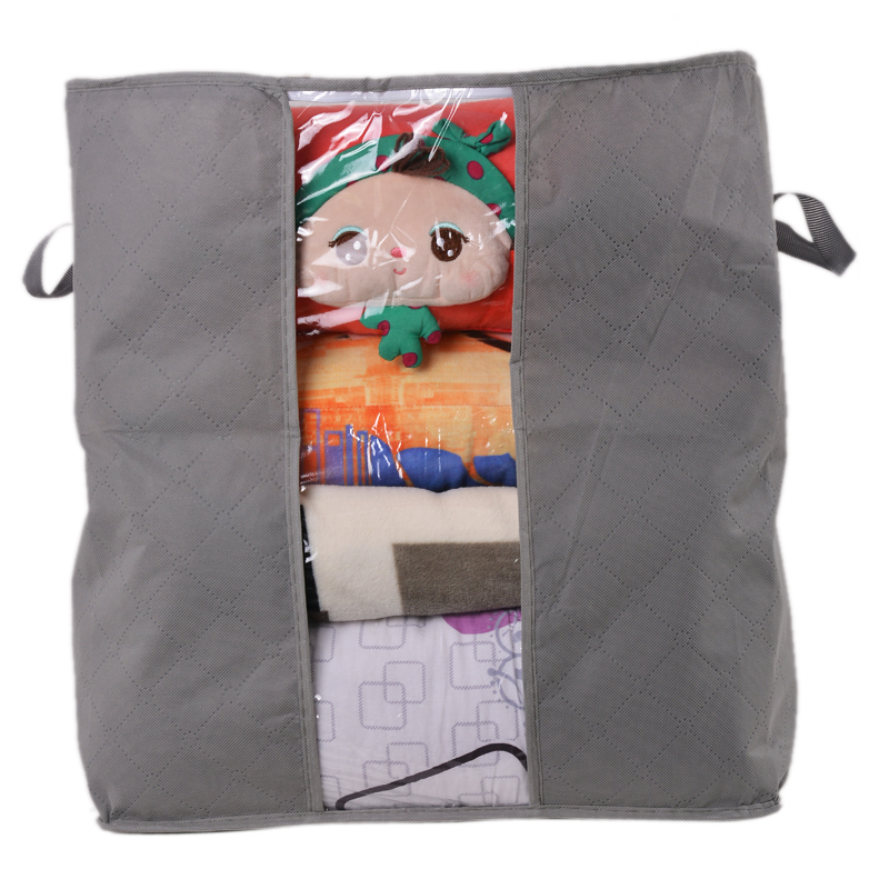 Non Woven Fabric Folding Storage Box Dirty Clothes Collecting Case With Zipper For Toys Quilt Storage Box Clear Window Organizer - Цвет: 45x50x30cm Gray