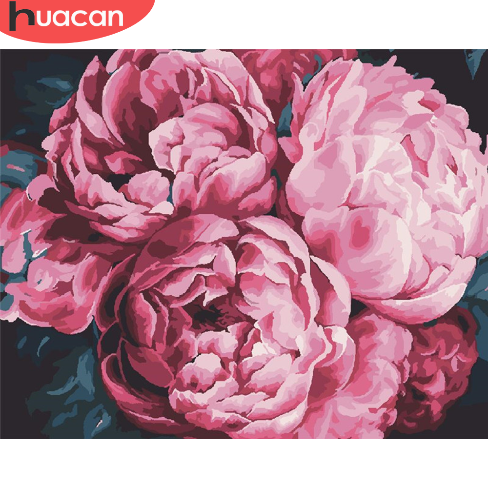 HUACAN Painting By Number Drawing On Canvas HandPainted Painting Art Gift DIY Flower Pictures By Number Kits Home Decoration