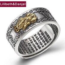 Bague ajustable pour Couple, en argent Sterling S990 100%, pour femmes et hommes, bouddha Mantra porte bonheur, lettres de mariage, bijoux R27