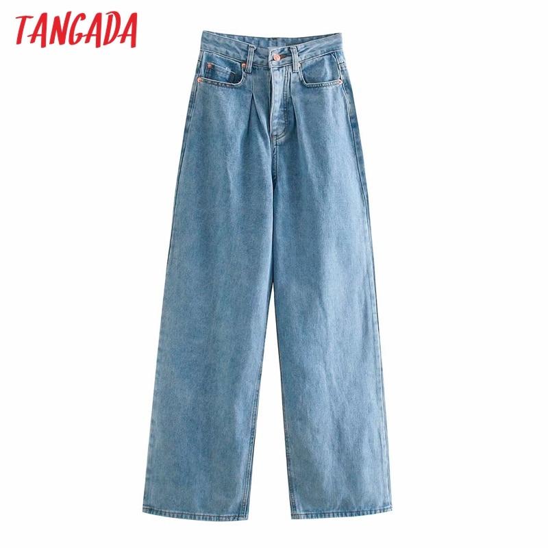 Tangada 2020 Модные женские широкие длинные джинсы Брюки с карманами на молнии женские брюки 4M242 Джинсы      АлиЭкспресс