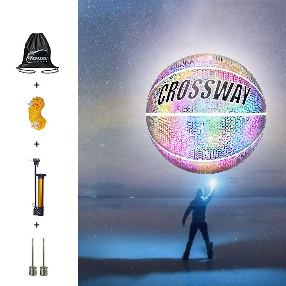 Świecące koszykówka Luminous koszykówka sport syntetyczny sąd spersonalizowana piłka cementowa podłoga indywidualne holograficzne koszykówki