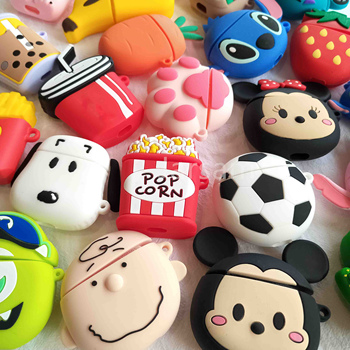 For Airpods 2 Case Silicone Stitch Cartoon Cover Apple Cute Earphone 3D Headphone case Protective