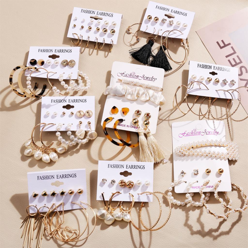 Boho Brinco Twisted Big Pearl Earrings For Women Flower Gold Dangle Earring Set 2020 Boucle D'Oreille Femme Fashion Jewelry
