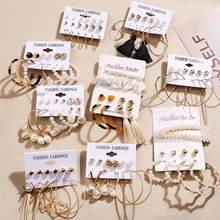 Boho Brinco torsadé grande perle boucles d'oreilles pour les femmes fleur or balancent ensemble de boucles d'oreilles 2020 Boucle D'Oreille Femme bijoux de mode