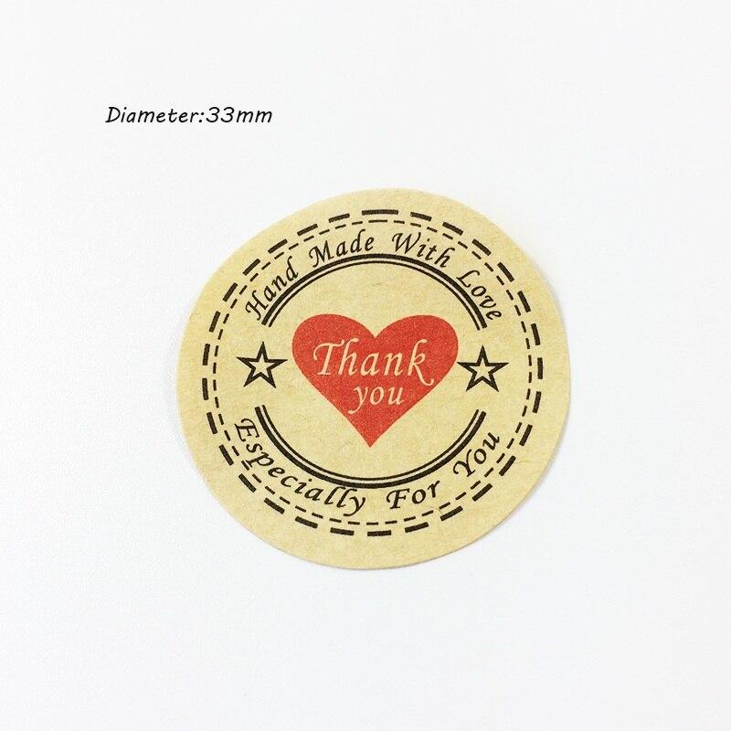 "Купить с кэшбэком 100PCS ""Thank you"" Heart Round eco-friendly Kraft Stationery label seal sticker Students' DIY Retro label For handmade products"