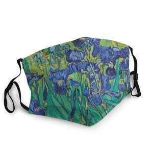 Ирисы Винсента Ван Гога цветущего фиолетового сада многоразовая маска для лица анти-дымка Пылезащитная крышка респиратор рот муфельная