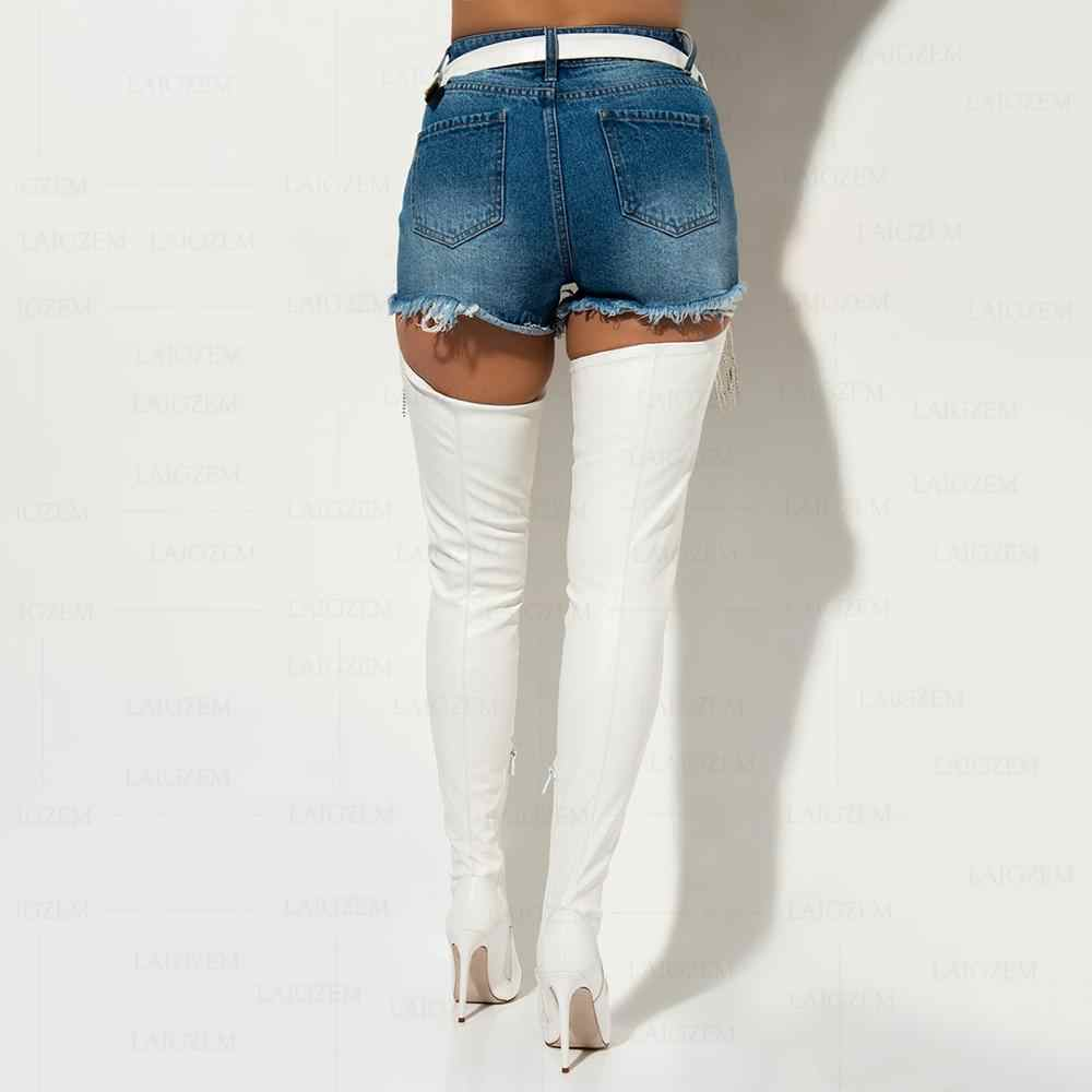 Berzimer Nữ Đùi Cao Cấp Giày Chấp Giày Dây Lưng Giả Da Đế Gót Quá Đầu Gối Giày Boots Nữ Size 38 44 45 47