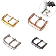 2 pçs 12mm 14mm 16mm 18mm 20mm 22mm pulseira de metal fivela fecho preto ouro prata rosa ouro aço inoxidável relógio fivela