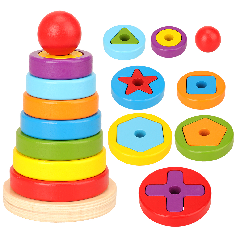 Jeu de puzzle de réaction bon marché pour enfants, jouets en forme de pyramide arc-en-ciel, nid à empiler pour bébés, cadeau d'anniversaire pour enfants