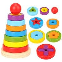 Novo jogo de quebra-cabeça de reação barato crianças brinquedos arco-íris pirâmide aninhamento empilhamento forma do bebê jogos de brinquedo para crianças presente de aniversário diy