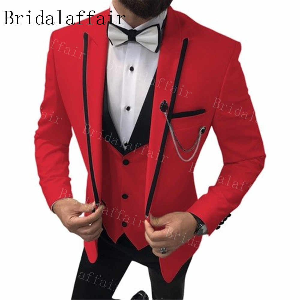 Bridalaffair Custom Made Red Men S Suits Black Trim Lapel Tuxedos Groomsmen For Wedding Costume Homme Slim Fit Jacket Vest Pants Suits Aliexpress