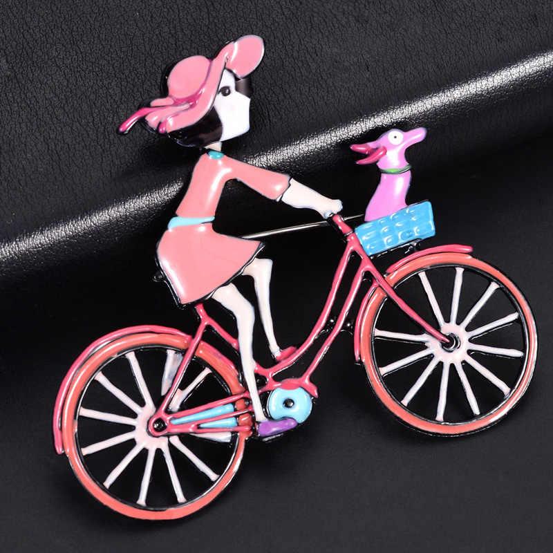 2019 Hot Sale Multicolor Perhiasan Enamel Putri Boneka Pin Bros Paduan Logam Sepeda Bros untuk Wanita Gadis Aksesoris Pakaian