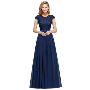 Image 5 - Charming Burgundy Lace Chiffon Long Evening Dress 2019 Elegant Short Sleeve Evening Party Dresses Formal Evening Gowns