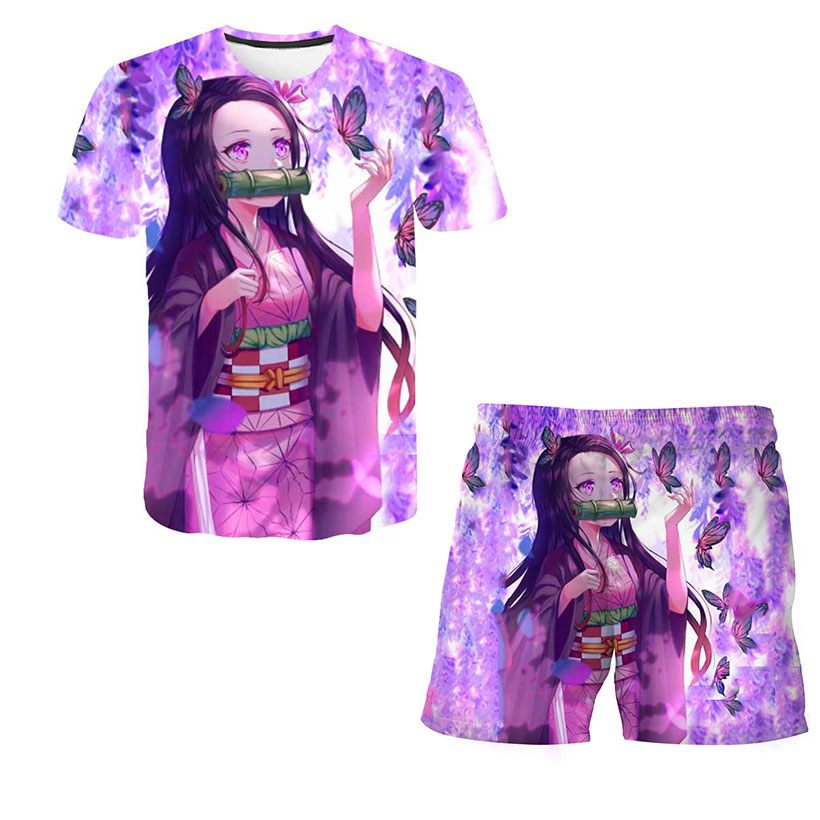 Children Demon Slayer Suits Top+shorts 2pcs T Shirt Boys Girls Sets Sets Kimetsu No Yaiba Children Clothing Sets 4 To 14 Years