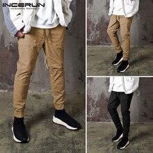 INCERUN мужчины свободного покроя брюки эластичный пояс карманы сплошной цвет мода бегунов брюки шикарные удобные для отдыха длинный плюс размер 5XL размер