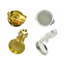 24 Pieces Clip On Earring Flat Pad Findings With Loop Clasp Round Blank Base For Diy Earring Making Accessories Silver & Gold все цены