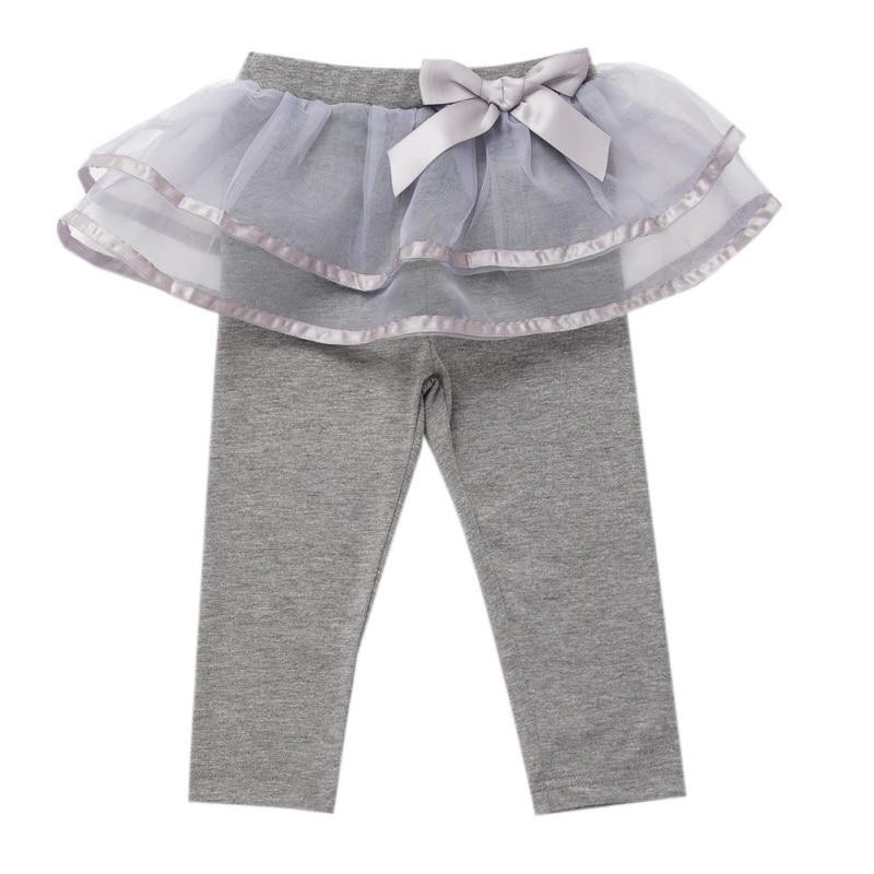 Autumn Kids Baby Clothes Kids Cotton Leggings Girl Toddler Bowknot Mesh Skirt Pants Skinny Long Bottoms Girls Pants