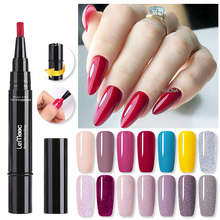 LEMOOC Nail Gel Pen Sparkling And Solid Color Pure Glitter