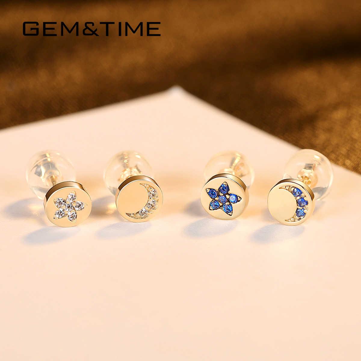 פנינה & זמן יוקרה אמיתי 14k זהב 585 עגילי ספיר כוכב & מו עגילים לנשים תכשיטים ואבני חן bijoux En או פור E14926