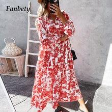 Elegant Lace-Up Drawstring Dress Summer Fashion Flower Print Long Sleeve Party Dress Women Casual V Neck Loose Maxi Dress Mujer