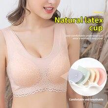 Dikişsiz dantel sütyen kadın iç çamaşırı BH seksi sütyen Push Up Bralette ped ile lateks sütyen balenli olmadan kemikleri kadın üst